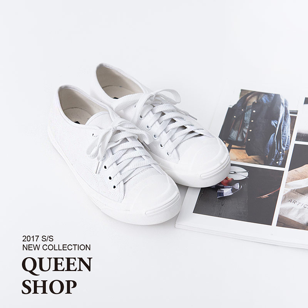 Queen Shop【05020122】前剪接綁帶帆布鞋 36-40*預購*