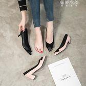 蝴蝶結工作鞋女黑色中跟低跟尖頭網紅粗跟單鞋舒適職業高跟真皮鞋 蓓娜衣都