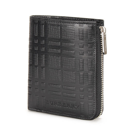 BURBERRY經典壓印格紋零錢鑰匙鎖包(黑色)080559