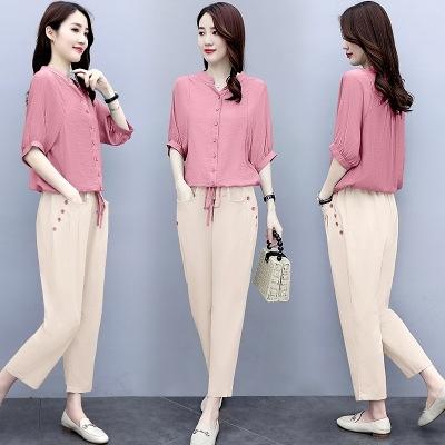 兩件套裝女M-3XL棉麻套裝女夏季新款女裝氣質法式復古亞麻休閑時尚洋氣兩件套T153韓衣裳