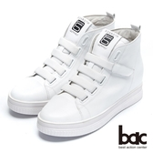 【bac】街頭運動 -撞色彈性織帶內增高厚底懶人休閒鞋(白色)