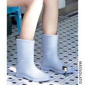 成人雨鞋 雨鞋女韓國可愛防水鞋女士中筒夏季時尚套鞋防滑膠鞋戶外成人雨靴 5色 35-39