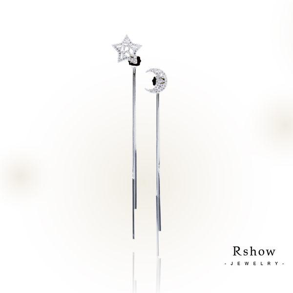 Rshow S925純銀  Meteor 流星偃月 鏤空線型垂墜耳環 白金 RES00122W