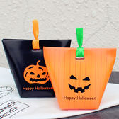 【BlueCat】Happy Halloween 橘色直線條恐怖表情 禮物盒 餅乾盒 西點盒 糖果盒