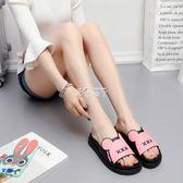 新款涼拖鞋女夏增高厚底可愛家居家室內平跟軟底防滑浴池拖鞋 俏腳丫
