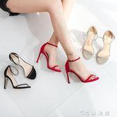 夏季新款一字扣帶chic涼鞋女細跟露趾氣質高跟鞋女鞋小碼  薔薇時尚