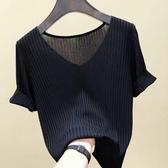 針織上衣2020新款超火cec夏裝冰絲針織衫T恤女短袖V領套頭韓版顯瘦上衣潮 JUST M