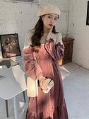 秋冬2021新款法式氣質中長款絲絨收腰顯瘦很仙的長袖連身裙女裙子 伊蘿