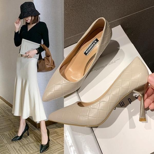 細跟鞋.優雅法式大理石紋高跟尖頭包鞋.白鳥麗子