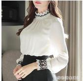 現貨出清秋裝新款韓版寬鬆白色雪紡衫女長袖蕾絲打底衫女上衣花邊立領 居家物語 10-13