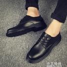 夏季男鞋黑色小皮鞋男士韓版大頭馬丁圓頭商務正裝休閒配西裝潮鞋【小艾新品】