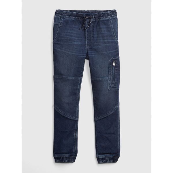 Gap男童 彈力抽繩鬆緊腰束口牛仔褲 491889-深色水洗做舊