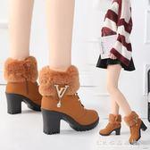 歐美秋冬季馬丁靴女英倫風高跟短靴粗跟媽媽棉鞋加絨女靴  水晶鞋坊