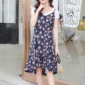 碎花裙 牛奶絲荷葉邊吊帶裙中長款碎花寬鬆新款過膝夏季女裝連身裙裙 伊蘿鞋包