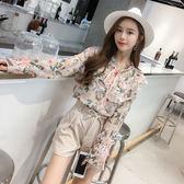限時38折 韓系復古時尚荷葉邊襯衫長袖上衣