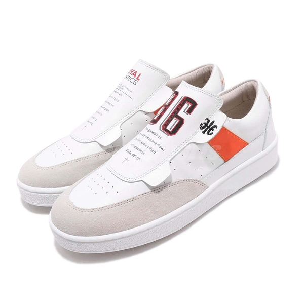Royal Elastics 休閒鞋 Pastor 白 橘 質感皮革 無鞋帶設計 橡膠大底 女鞋【PUMP306】 91891002