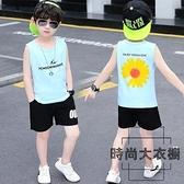夏季夏裝純棉薄款兒童背心短褲兩件套裝【時尚大衣櫥】
