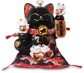 【金石工坊】滿願成就轉運貓(高24.5CM)黑色招財貓 陶瓷擺飾 開店送禮 開業禮品 撲滿存錢筒