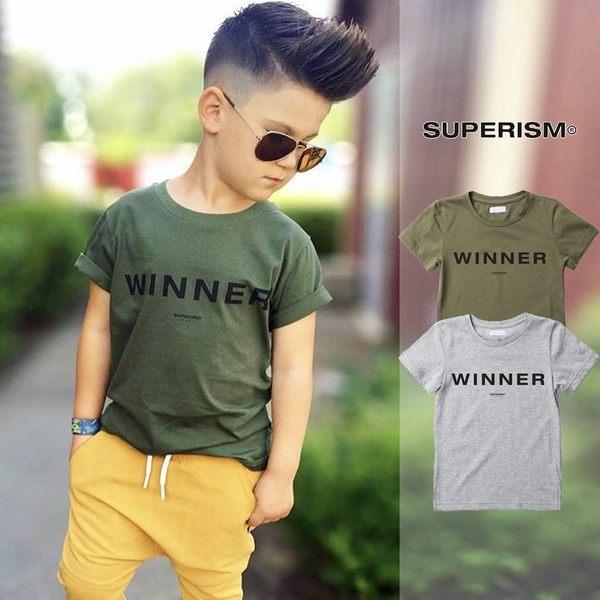 【GT】Superism Winner 灰墨綠 短袖T恤 童裝 純棉 字母 贏家 時尚 俏皮 短T 美牌 男女童裝 寶貝童衣