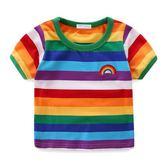 2018新款男童短袖T恤夏女童兒童彩虹條紋中小童夏裝純棉寶寶上衣【小梨雜貨鋪】