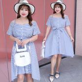 中大尺碼~豎條一字肩紋短袖連衣裙(XL~4XL)
