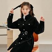 連身裙 氣質排扣收腰長袖洋裝RW9197-創翊韓都現貨