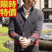 毛衣外套美麗諾羊毛-自信秋冬保暖羅紋翻領男開襟針織衫64k5[巴黎精品]