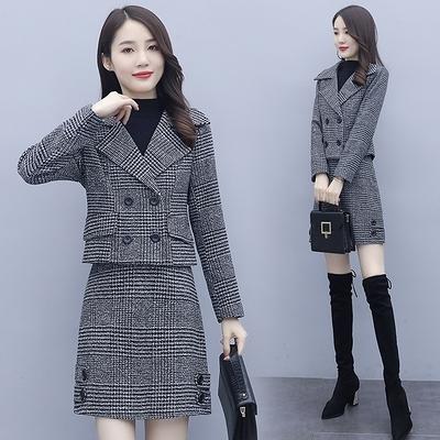 百搭毛呢套裝女年秋冬季氣質洋氣裙套裝兩件套DB208依佳衣