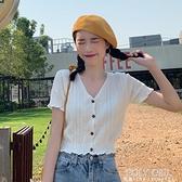 bm風短款上衣服女夏季新款辣妹高腰V領白色針織短袖T恤ins潮 夏季狂歡