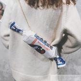 可愛帆布大白兔奶糖錬條上新包包女新款創意仿真單肩包斜背包 韓慕精品