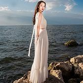 長洋裝 波西米亞風-性感露腰低胸大擺女連身裙2色73mw8[巴黎精品]