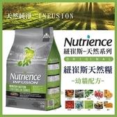 *KING*美國Nutrience紐崔斯《INFUSION天然幼貓飼料-雞肉》1.13公斤