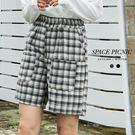 短褲 Space Picnic 格紋口袋造型毛呢短褲(現貨)【C19101054】