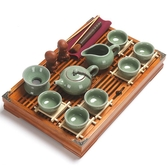 真盛 整套茶具套裝家用功夫陶瓷茶杯子實木茶盤茶海茶道配件茶藝