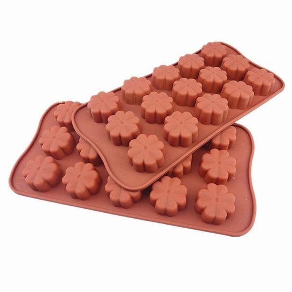 心動小羊^^10孔耐高四葉草矽膠巧克力模 蠟燭果凍布丁模製冰格翻糖、香磚、迷你皂模