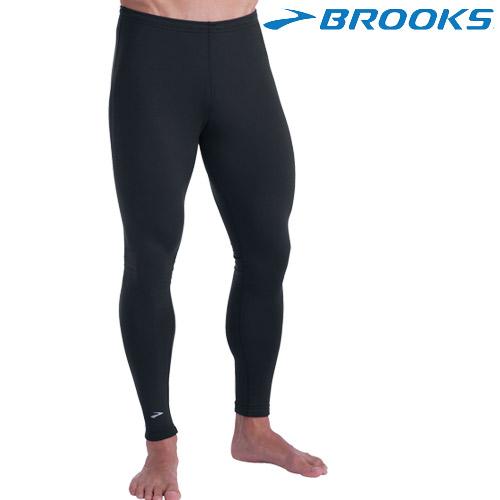 【BROOKS】男快排壓縮緊身長褲 - 黑