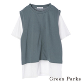 「Summer」分層式袖口拼接上衣 - Green Parks
