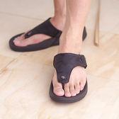 迷彩男涼鞋 黑 平底休閒 真皮涼鞋 海灘鞋 拖鞋《SV8786》HappyLife
