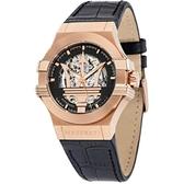 MASERATI 瑪莎拉蒂/POTENZA/鏤空機械簡腕錶-黑X玫瑰金/42mm/R8821108002