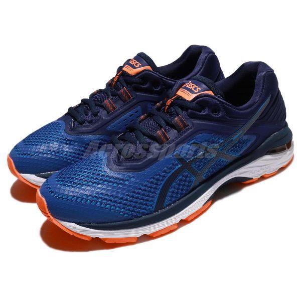 【五折特賣】Asics 慢跑鞋 GT-2000 6 藍 橘 回彈吸震 男鞋 運動鞋 【PUMP306】 T805N4549
