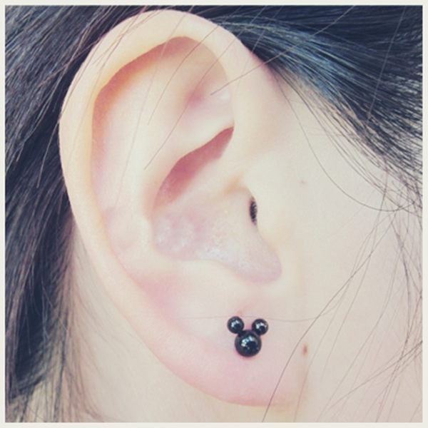 316L醫療鋼 小米老鼠米奇 旋轉式耳環-銀、黑 防抗過敏 單支販售