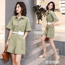 夏裝新款女裝夏季時尚修身短袖純色連身褲套裝 『蜜桃時尚』