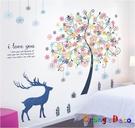 壁貼【橘果設計】夢幻森林 DIY組合壁貼...