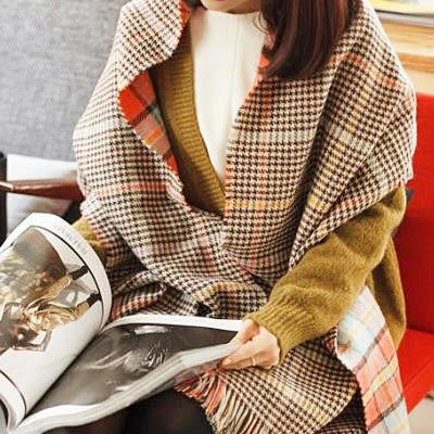 披肩圍巾 韓版雙面格紋仿羊絨圍巾 (5色)【Ann梨花安】