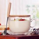 大容量玻璃馬克杯杯子日式帶蓋勺早餐杯可微波【時尚大衣櫥】