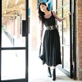 秋冬新品[H2O]中高腰大裙襬拼接蕾絲吊帶洋裝 - 藍/黑色 #0654005