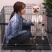 狗籠 寵物折疊狗狗籠子泰迪小型中型大型犬用品貓籠兔籠博美帶廁所鐵籠 快速出貨