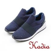 2017秋冬新品 kadia.舒適 造型水鑽休閒鞋(7521-55藍)