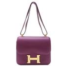 HERMES 愛馬仕 Constance 24 Anemone 海葵紫色方型肩背包 康康包 D刻【BRAND OFF】