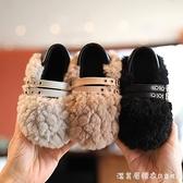 女童毛毛鞋冬季加絨外穿豆豆鞋兒童二棉鞋幼小童保暖軟底寶寶鞋子 美眉新品